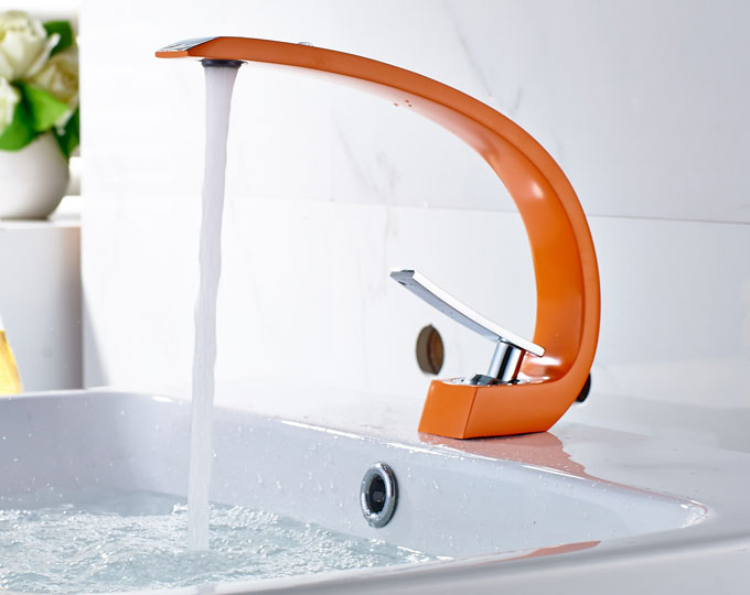 Chrome Orange Bathroom Mixer Tap Brass Washbasin Faucet 28626