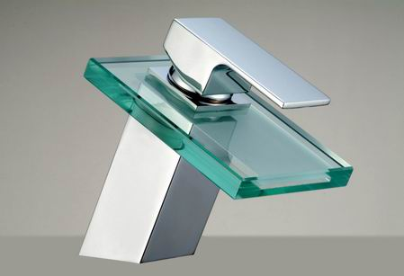 Bathroom glass waterfall faucet