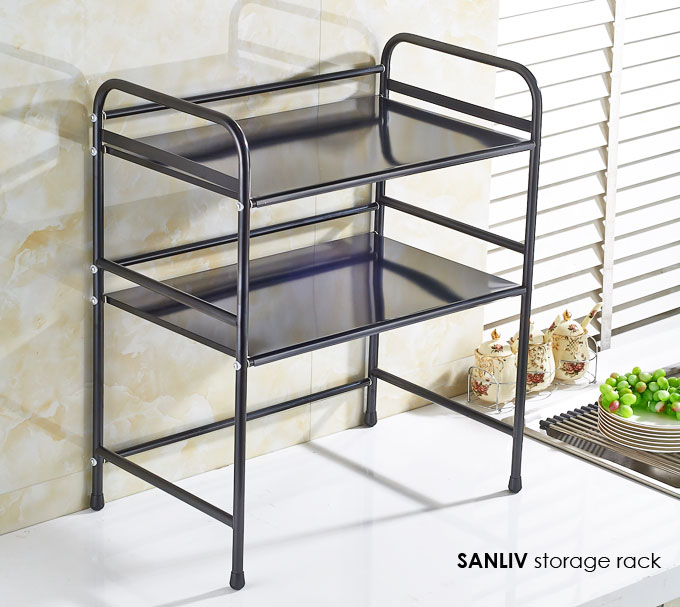 Black Microwave Kitchen Cart-Stand Double Shelves