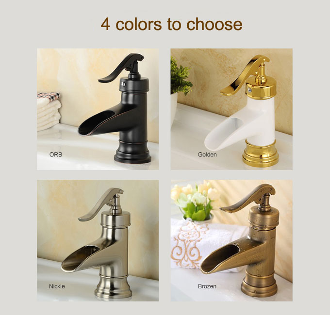 Brushed Nickel ORB Bronze Waterfall Bathroom Faucet Basin Mixer Taps