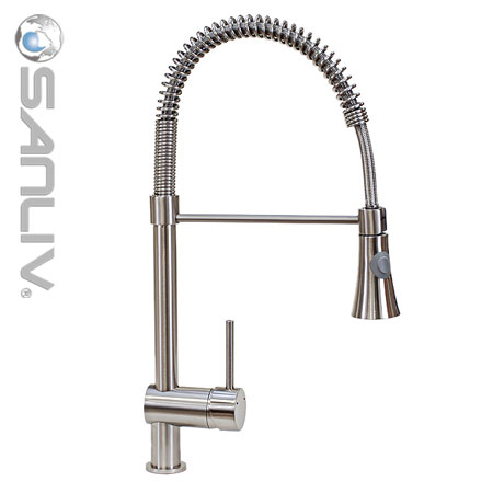 brushed nickel pull down kitchen faucet 28113 | pullout spray