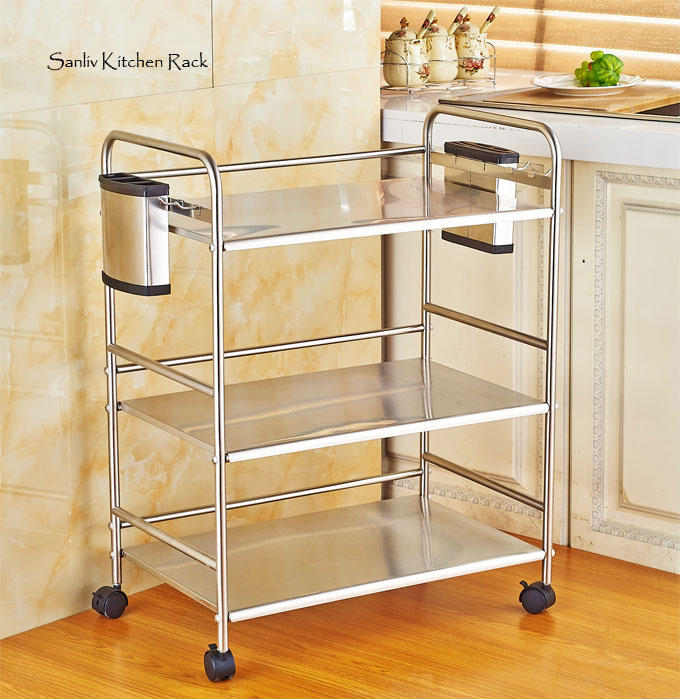 Chrome 3-Tier Utility Microwave Stand Storage Kitchen Cart Workstation