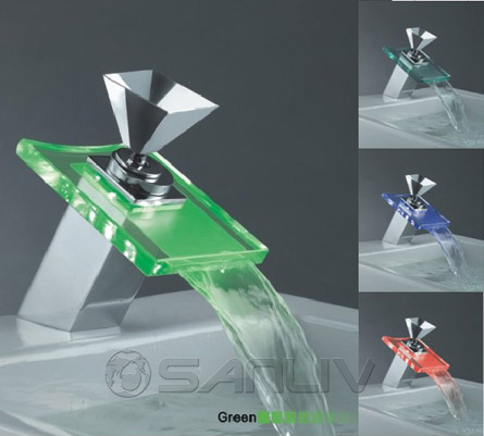 Glass Waterfall LED Bathroom Vanity Vessel Sink Faucet