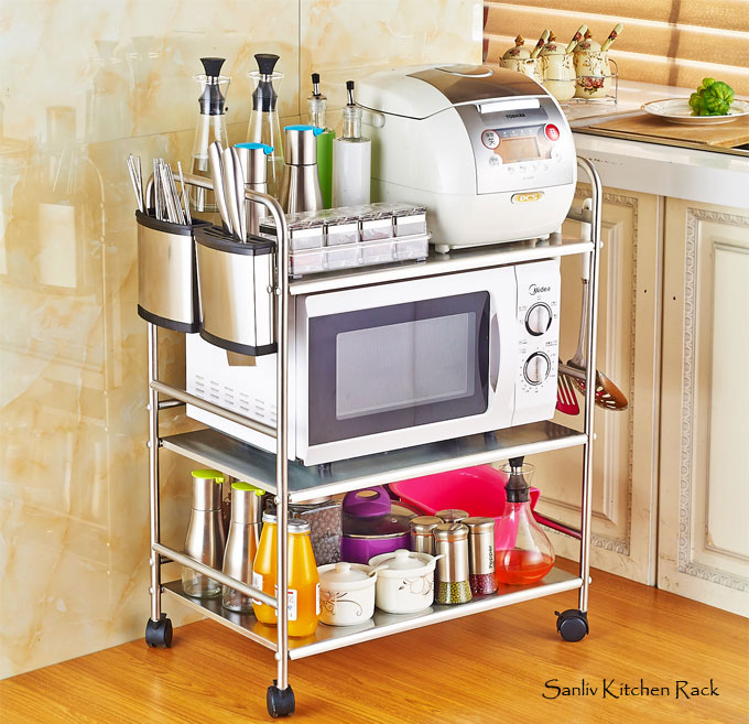 Kitchen Baker Rack Utility Microwave Oven Stand Storage Cart Workstation Shelf