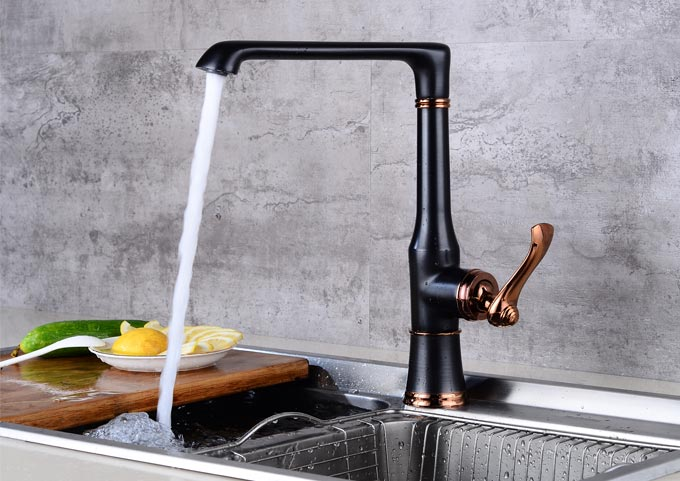 Oil Rubbed Bronze Sink Mixer With High Movable Spout and Single Side Lever
