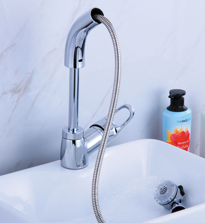 Pull-Out Basin Mixer with Swivel and Height Adjustable Spout Chrome