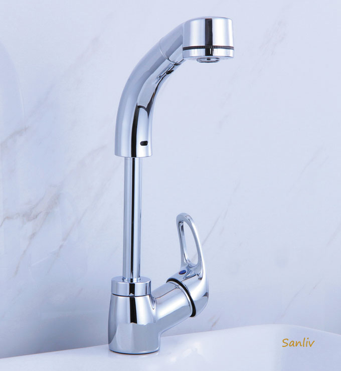 Bathroom Single Lever Pull-Out Sink Faucet with Swivel and Height ...