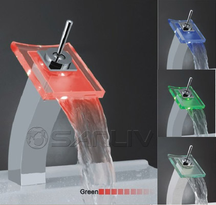 Tall LED Waterfall Bathroom Faucet Chrome