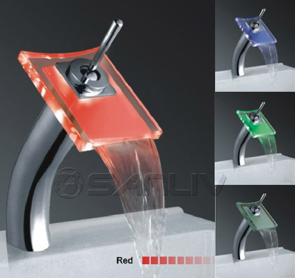 Tall Glass Waterfall LED Vessel Faucet L28621F