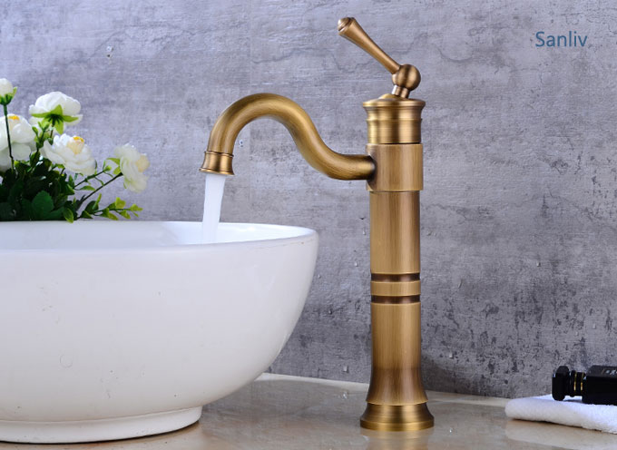 Tall Vessel Filler Bathroom Sink Faucet Basin Mixer Tap Bronze