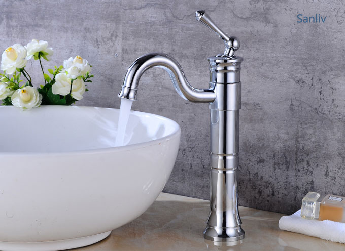 Tall Vessel Filler Bathroom Sink Faucet Basin Mixer Tap Chrome