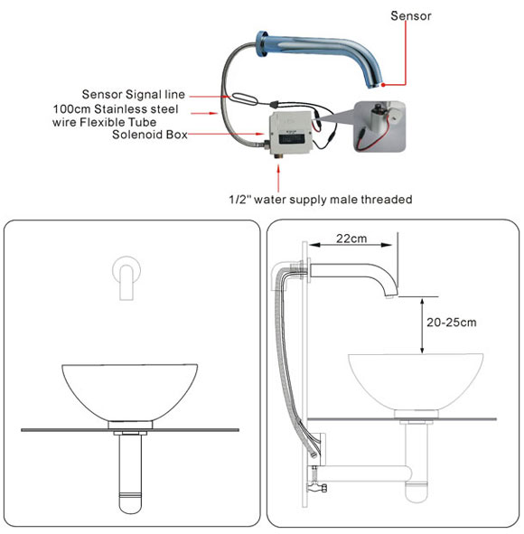 Wall Mounted Automatic Bathroom Sink Sensor Faucet Instalaltion