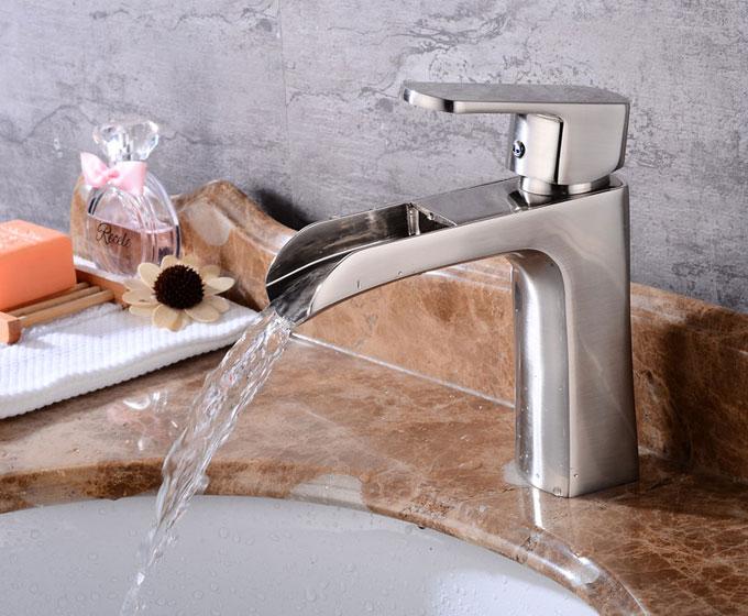 Waterfall Bathroom Single handle Basin Mixer Tap Brushed Nickel