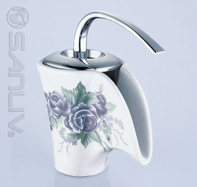 Ceramic Waterfall Bathroom Vessel Faucet 28504