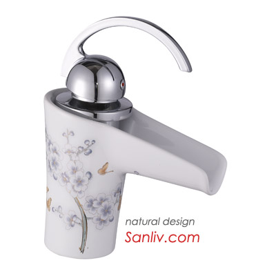 Waterfall Ceramic Bathroom Sink Mixer Tap
