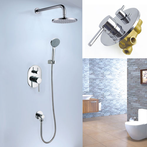 Concealed Rain Shower Tap with Hand Shower Hose Chrome