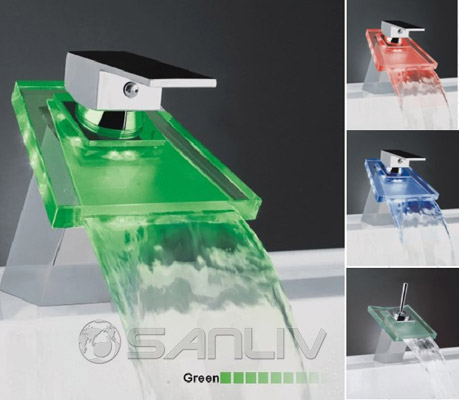 Trapezoid Waterfall LED Bathroom Sink Faucet
