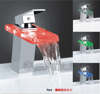 Glass Waterfall LED Bathroom Wash Basin Mixer Taps