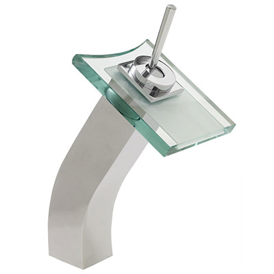 glass waterfall bathroom vessel sink faucet