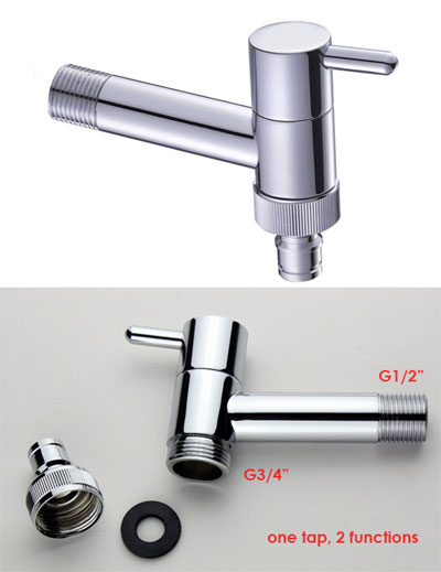 Wall Mounted bib tap or angle cock with Hose Connector