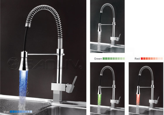 Single Handle Pull Down Kitchen Faucet with Color Changing LED Light