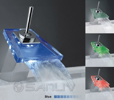 LED Waterfall Cascading Glass Bathroom Sink/Basin Mixer Tap