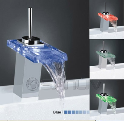 Hot and cold feed LED Waterfall Cascading Glass Mixer Tap