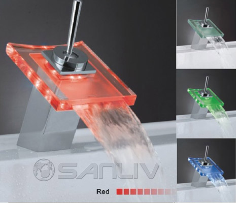 Temperature Sensor LED Waterfall Cascading Glass Mixer Tap