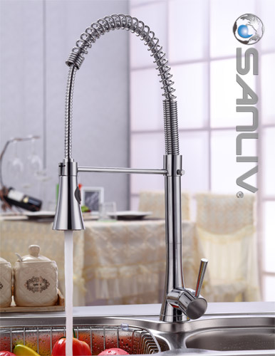 Chrome Pull Down Spray Kitchen Sink Faucet