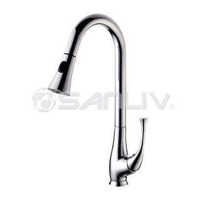 Single handle pull out spray kitchen faucet 28117