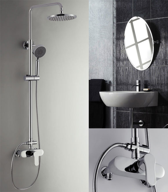 Shower Mixer Faucet with showerpipe and rain showerhead