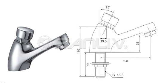 Self-closing single basin tap faucet 20106