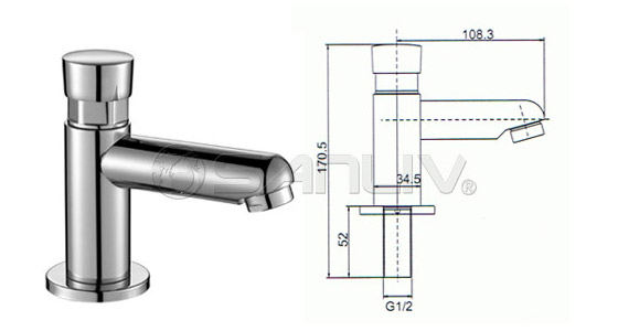 Self-closing single basin tap faucet 20120