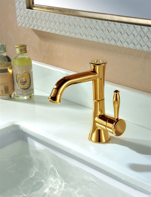 Golden Gooseneck Washbasin Mixer 28322