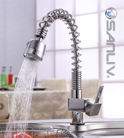 Single Handle Spiral Spring Pull-out Kitchen Tap