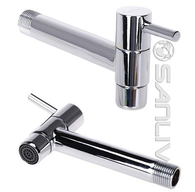 Chrome Plated Long Arm Wall Mounted Single Bibtap 10105