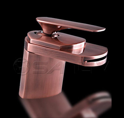 Single Hole Antique Copper Waterfall Basin Mixer Tap