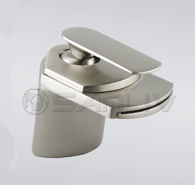 Single Hole Brushed Nickel Waterfall Bathroom Vessel Sink Mixer Tap