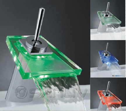 Glass LED Waterfall Bathroom Basin Mixer Taps